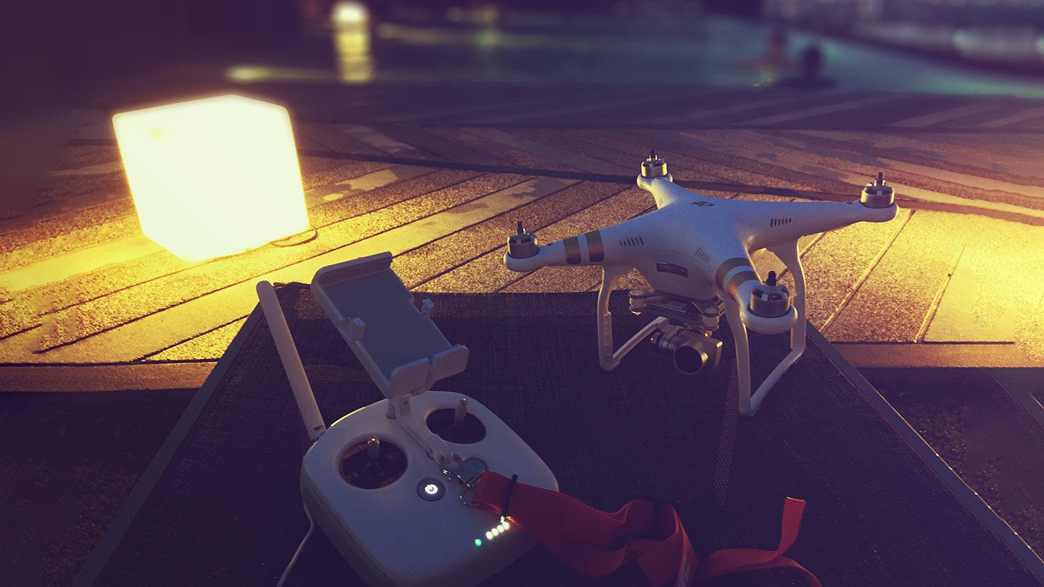 DJI Phantom 3 beside the pool