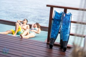 Couple Diver Long Fins Freediver Relax Chill Maldives Leader Fin